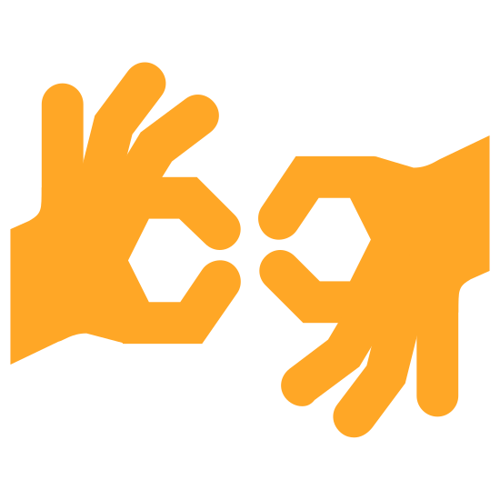 Sign Language icon. There is one hand on the left which is cutoff at the wrist forming the sign language 'ok' sign by placing the tips of their index finger and thumb together. To the right is another hand doing the same thing but upside-down.