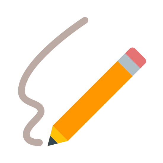 Sign Up icon. There is a squiggly line heading downwards, and where it ends there is a pencil going diagonal, giving the idea it's just being drawn. There isn't much detail to the pencil, only a dark tip and an eraser on the end.