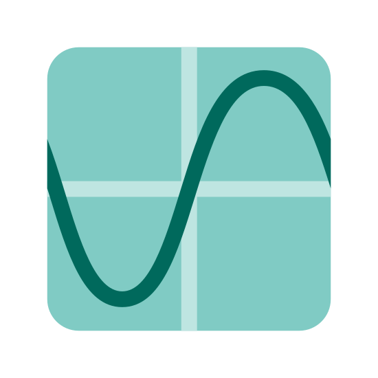 Sinus icon. There is a solid line running from north to south. a second line is perpendicular to it intersects in the center. A curved line originating from the intersection of the two strait lines begins going climbing up before turning down and going below the horizontal line before turning once more and meeting the horizontal line. Similar to a sideways S.