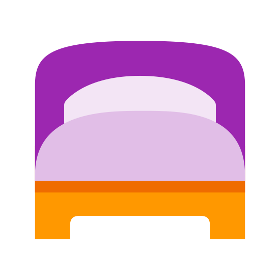 Односпальная кровать icon. The icon Single Bed is two rectangles sitting on top of each other. The top rectangle has a half moon cut out of the top of it. The bottom rectangle a half of a small rectangle cut out of the bottom of it.