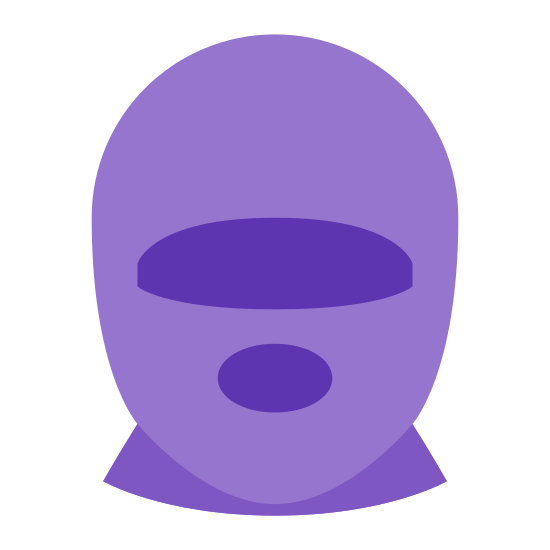 Maska narciarska icon. This is an icon of a ski mask. It is a bulbous circle at the top that tapers off to a horizontal line at the bottom. Inside the circle is two holes for eyes and a larger circle for the mouth.