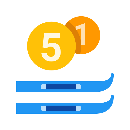 Ski Rental icon. It's the image of two parallel skies, horizontal at the bottom of the image.  Above the skies is the number one enclosed in a circle.  In front and to the side of the number one, and partially blocking the circle that contains it, is the number five enclosed in a circle.  The circle that encloses the five is slightly bigger than the other circle.