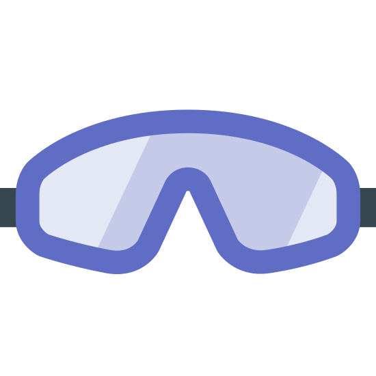 """Skydiving Gear icon. It's a logo for skydiving gear and shows goggles. The mask is facing to the left and is made up of two lines in the shape of a """"B"""" pointing downwards. There are also two more parallel lines going around the mask to depict the straps."""