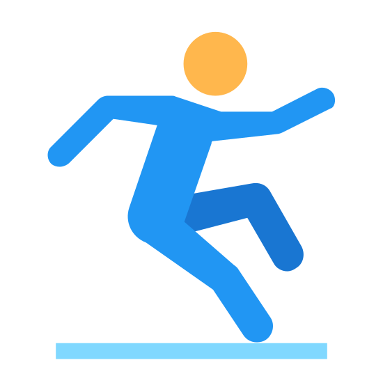 Slippery Floor icon. It's an icon representing a slippery floor.  It has a stick figure walking from left to right.  There is a line underneath the figure.  The figure is standing on one leg and appears to be trying to catch their balance before they fall.