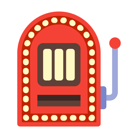 """Игровой автомат icon. The icon for """"slot machine"""" is a rectangular gambling machine. The top is curved, and there is a pull-down lever attached to the right. All three of the rectangular number sections located in the middle are showing the number seven."""