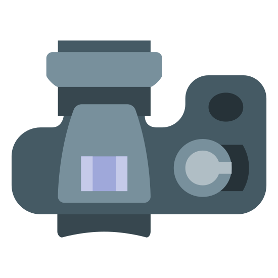 Mały obiektyw SLR fotograficzny icon. It's a logo for an SLR small lens on a camera. The picture is a top-down view of a camera with a shutter button on the right and the lens predominantly displayed on the top of the picture.