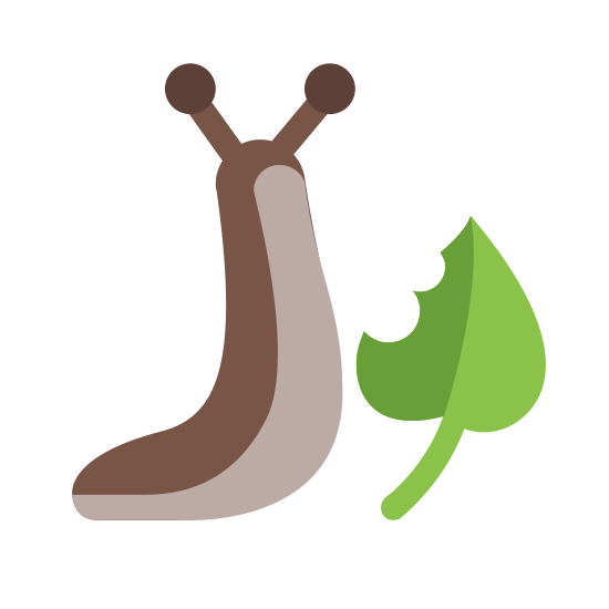 Slug Eating icon. This icon is depicting a slug next to a leaf with a bite taken out of it. The slug is leaning in towards the leaf and has two antennae atop its head.