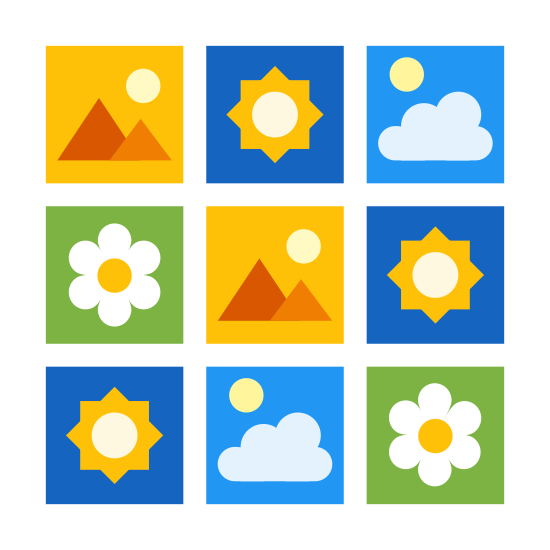 Small Icons icon. The small icons are represented by many tiny different images or icon. For example, there may be symbols for clouds, suns, mountains, flowers, etc. The images inside the icon are small and is surrounded by a square.