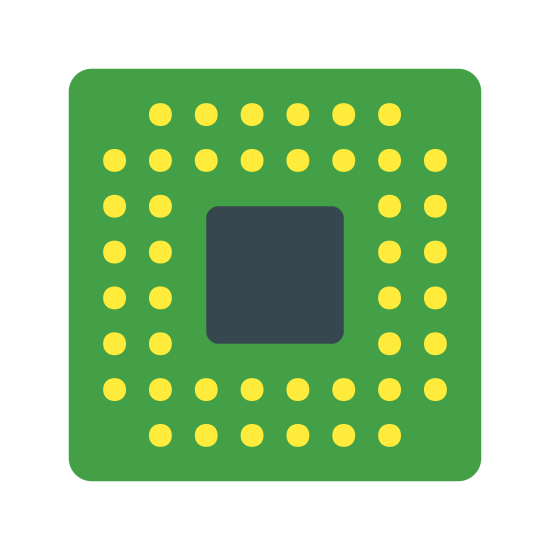 Smartphone CPU icon. A square with slightly rounded corners, with a smaller square inside of it. Between the two squares, there are six closely spaced dots lining the sides, slightly closer to the outer square.