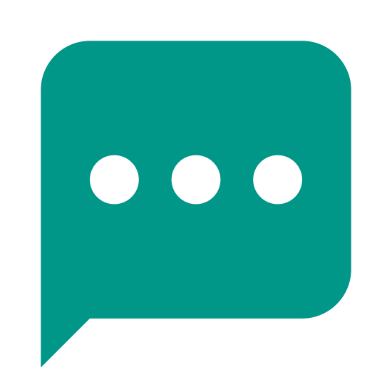 SMS icon. This is a speech bubble. The speech bubble is in the shape of a rectangle with rounded edges and a little comma on the bottom left that would point towards the speaker. Inside of the speech bubble are 3 circles in a horizontal line.