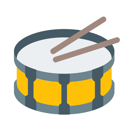 Snare Drum icon. This is a drawing of a big drum with two drumsticks on it. It is a circular drum and around the base of the drum there are rectangles going all around the side.