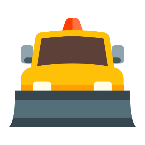 Snow Plow Truck icon. This icon depicts a snow plow truck. The truck is facing the viewer and has a plow, rear view mirrors, headlights, and a light on top showing.