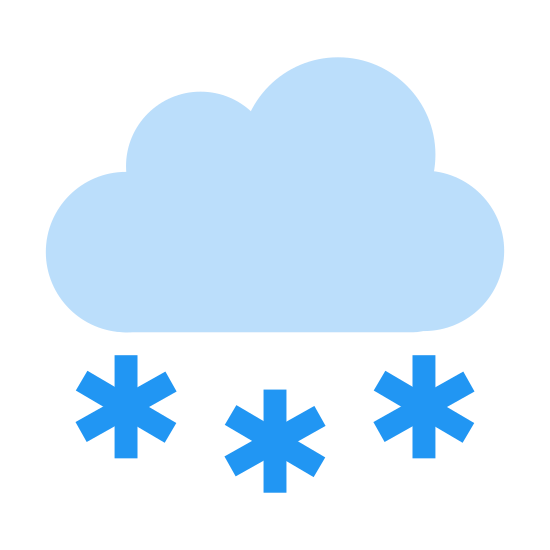 Snow icon. This is a picture of a cloud that is open at the bottom and has a snowflake in the opening. There are five smaller snowflakes falling from below it. It really shows how a cloud makes snow.