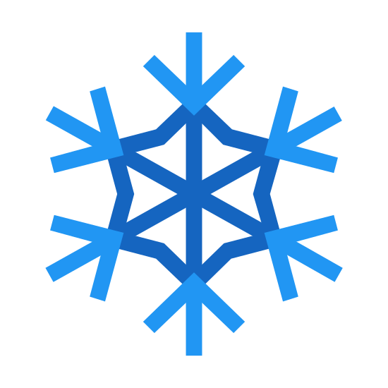 Schneeflocke icon. The universal symbol for snowflake, one line drawn vertically, two drawn through it making even 60 degree angles. The lines branch out twice, and in the center concaves are drawn between all three lines to form the symbol.