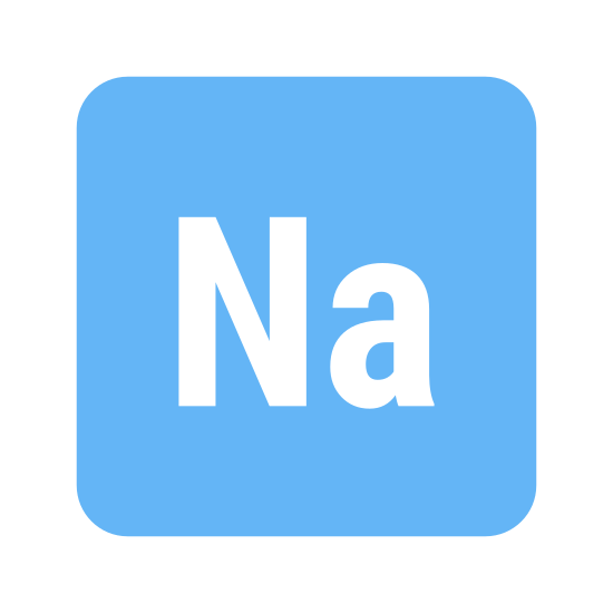 Sodium icon. This icon is a large square with round corners. It also has the capital letter N and the lowercase letter a placed together in the center.