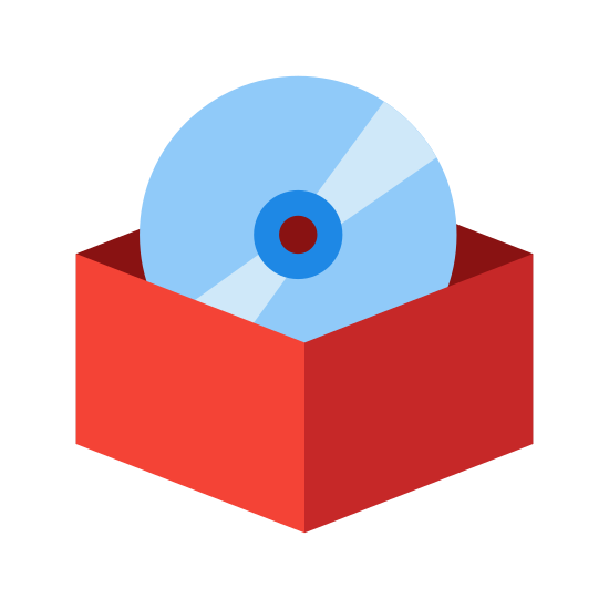 Software icon. There is a horizontal rectangle with a small thin line inside located near the center top position. Behind the rectangle, three-quarters of the top part of a circle is shown with a smaller circle in the middle and a dot inside that circle.