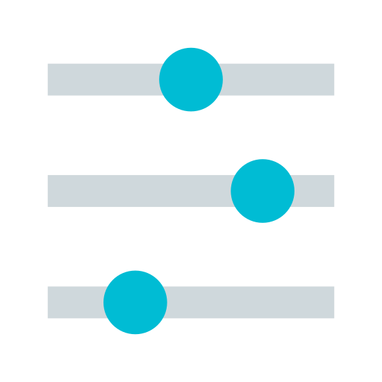 Slider  icon. This icon consists of three horizontal bars, each one with a circular slider on it. The indication is this icon would take you to a menu which would allow you to change various options b adjusting sliders like this.
