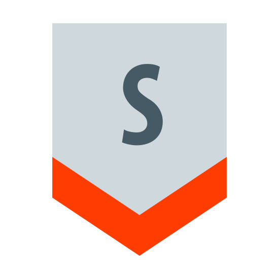 South icon. This logo indicates the direction South. It has a capital letter S in the center of a shape. The shape is open on the top, and has long vertical lines on the right and left of the S. At the bottom of the S it has two lines which join together to make a point - pointing south.