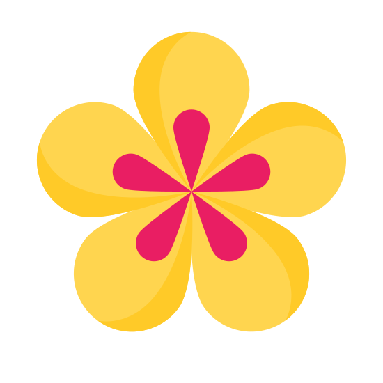 Spa Flower icon. The icon is made up of 5 tear drop shapes that all connect at the points to form a circular shape. Inside each tear drop shape is another smaller shaded tear drop that also connect to form a circular shape as well.