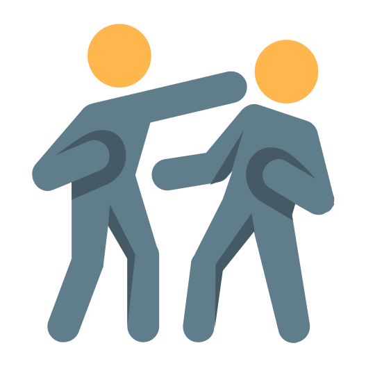 Sparing icon. It's an image of two people boxing. One person is throwing a punch to the other person's face. The person being punched is leaning back with one hand forward, and one fist pulled back, ready to punch. The person punching has the other fist pulled back, ready to punch again.