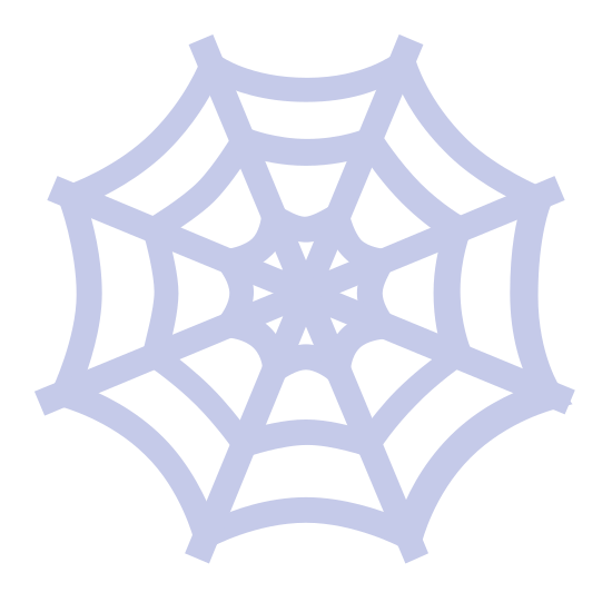 Spiderweb icon. The Spiderweb icon is made up of eight straight lines coming out of a common point, the lines are 45 degrees apart from each other. There are three rings each made up of eight concave lines that connect all eight lines to each other. The three concave rings are spaced evenly among the shaft of each straight line.