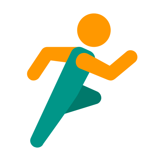 Sports Mode icon. This logo features a nondescript looking person performing an exercise. The figure is pumping both their arms and their legs as if they are running in a race or marathon.