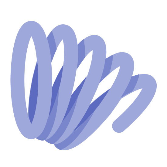Sprężyna w ruchu icon. The icon looks like a slinky, but simplified to be made up of four whole and one half overlaid circles, at an angle to the viewer. The slinky shape is curved down and to the right.