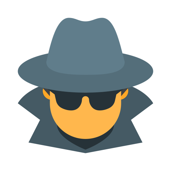 Spy icon. The icon depicts a male dressed in a trench coat. The collar of the coat has been flipped up to obscure his face from the side. The figure shown is also wearing a striped fedora.