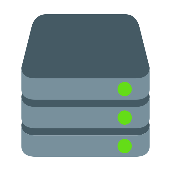 Stack icon. This icon is made of 3 rectangles stacked on top of each other like you might stack books on a shelf. Each rectangle has a small black dot in the right corner. The icon is meant to represent things stacked on top of each other.