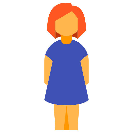 Women icon. The icon is a simplified depiction of a female humanoid figure, with its arms relaxed at its sides, and its legs and feet together. The head is slightly elevated from the rest of the body. The icon represents a woman, currently standing up on her feet.