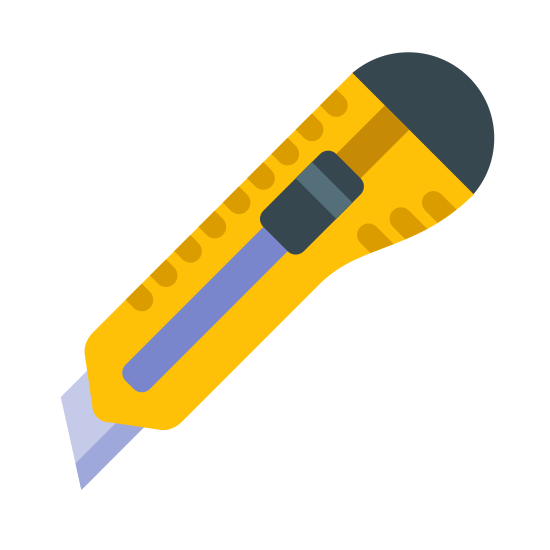 Stanley Knife icon. There is a sharp square razor blade slightly sticking out of a rectangular hand grip with an adjustable slider in the middle and a rounded knob at the top, opposite of the blade.