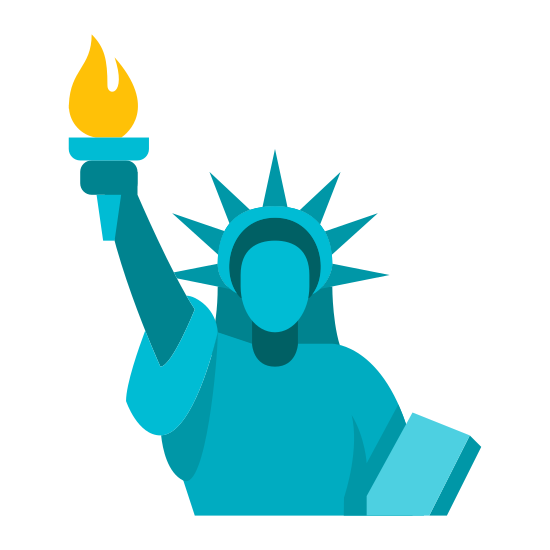 Statue of Liberty icon. This icon represents the statue of liberty. It is a picture of a human with a head wearing a spiked crown. It has it's left arm raised holding a torch. On the right bottom side is a small square shape.