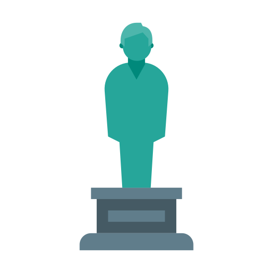 Statue icon. There are two rectangles on the bottom, with the smaller one stacked on the larger one. On top of the slabs is a figure of a person standing up tall.