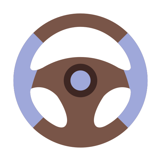 Steering Wheel icon. The icon is of a steering wheel. The wheel itself is black and white with a solid white circle in the center to represent the horn. There is no brand on the steering wheel to represent a specific vehicle, so it is a very general, generic steering wheel.