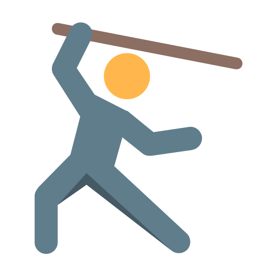 Attack icon. A man with his left leg knee bent a little. The right leg is extended with him leaning on his left leg. The man is carrying a stick over his head. He is in a fighting stance.