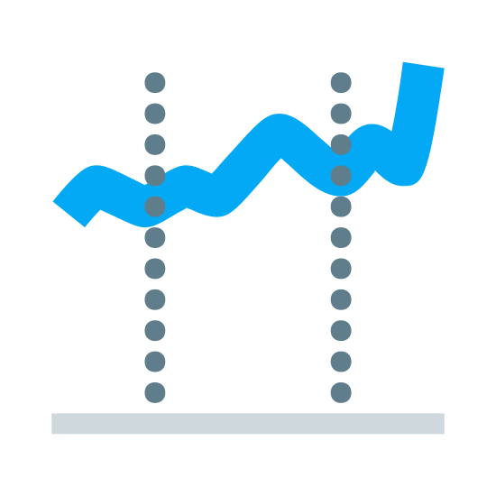 Stocks icon. There is a line that is going up. it looks like a graph with the positive correlation fluctuating a bit as it rises. there are 2 dotted lines on it and a line at the bottome