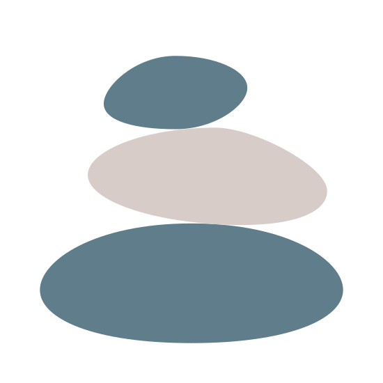Stones icon. There are three ovals stacked high. The bottom oval is the biggest and the top oval is the smallest. There's a small line inside each of the three ovals, along the top right side of each oval.