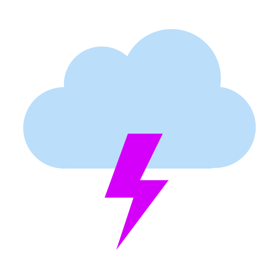Tempestade icon. The icon is a stylized depiction of a storm cloud. The cloud is fluffy and curvy on the top,. On the bottom of the raincloud, some rain drops and even a lightning bolt can be observed.
