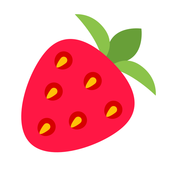 Truskawka icon. This is a picture of a strawberry. The main part of it is like a curved arrow pointing left and it his dots in the center. The top has a 3 edged object which is the leaf.