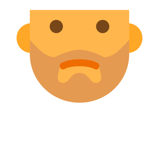 Stubble icon. This is a photo of a mans face. It is like the bottom 3/4 of an egg. For the ears, its just to bumps on each side. The eyes are two dots. There is a curved line for the mouth and dots all around the mouth.