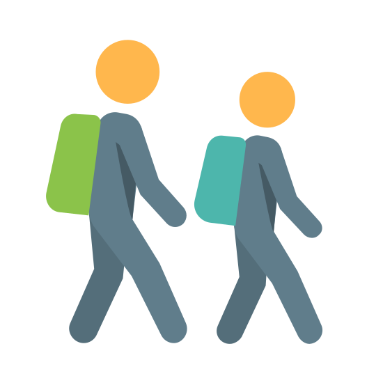 学生们 icon. The outline of two people walking. The person in front is slightly smaller and they are both wearing backpacks. They look exactly the same except one is a little shorter. It looks like they are walking to school.