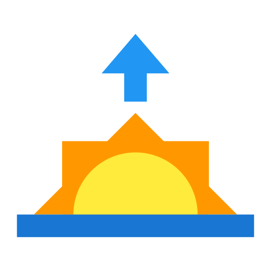 Sunrise icon. It's a sun peaking halfway up over the horizon. Above the half-sun and its three rays, there is an arrow which points up to the sky.