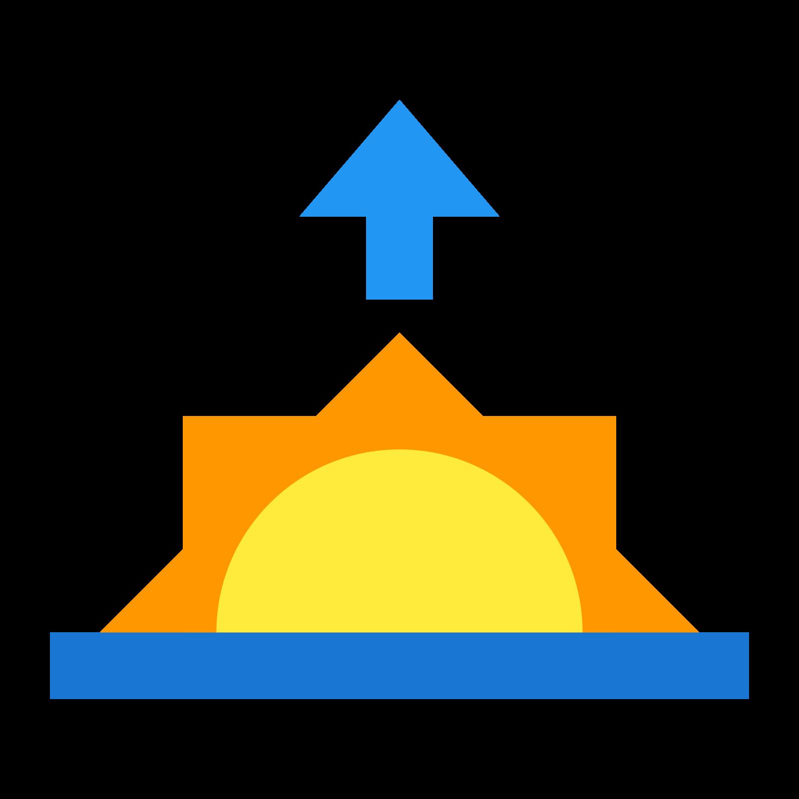 日の出 icon. It's a sun peaking halfway up over the horizon. Above the half-sun and its three rays, there is an arrow which points up to the sky.