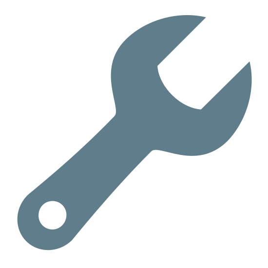 Suporte icon. It's a icon/logo of a tool, the tool is called a wrench. This icon/logo usually means settings or support, can usually be found in a menu bar or upper corner or lower corner of a page or window.