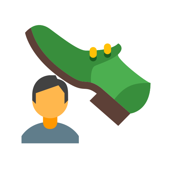 Suppression icon. The icon is a picture of a basic dress or athletic shoe about to stomp on a man. The shoe is coming down from the top right corner of the icon and the man is shown as much smaller than the shoe. The man is drawn from his shoulders and up, so nothing under the shoulders is visible.