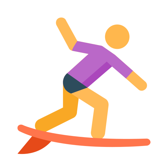 Surfing icon. The icon is a picture of a man on a surfboard, to describe surfing. The man is in a balancing stance with one arm in the air and one arm forward, both knees bent.