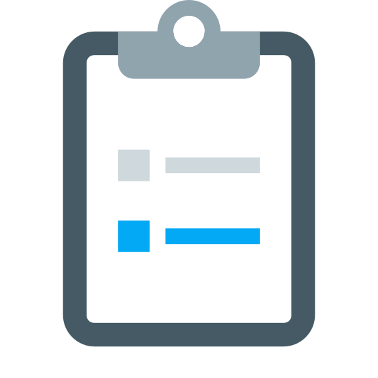 Survey icon. This particular icon features a shape of an outlines rectangle that is positioned upright.  In the middle of the shape are two boxes situated on top of each other.  next to the boxes is a single line on the sides of both boxes.