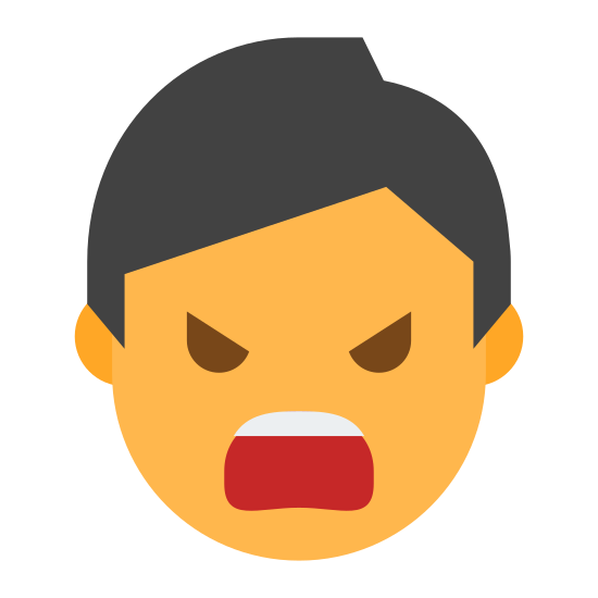 Mad icon. It's a logo of Swearing Male reduced to an image of a an angry face with it's mouth opened and words being propelled forward. It is an angry male shouting his words toward his enemy.