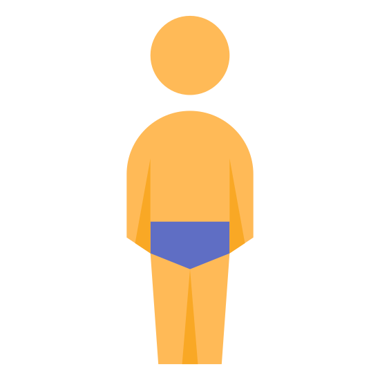 Swimmer Back View icon. This looks like a person wearing underwear. The person is standing up. There is a line of dots going down the middle of the person's chest.