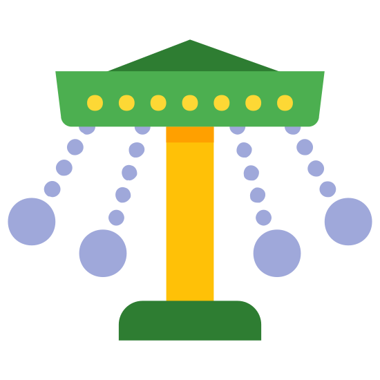 Merry Go Round icon. The image is of a canopy that's at the top of a stand. There are four lines coming from the canopy. At the end of each line is a circle. The circles are touching the lines but they are not touching each other.